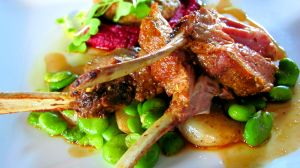 Dukkah crusted lamb w artichokes, beetroot & brains